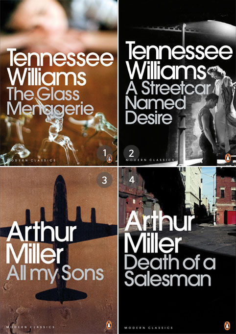 Lee observed four major works in the immediate postwar era of America: Tennessee Williams' The Glass Menagerie (1944) (top left), A Streetcar Named Desire (1947) (top right), and Arthur Miller's All My Sons (1947) (bottom left) and Death of a Salesman (1949) (bottom right) Photo courtesy of Lee Hyung-seob