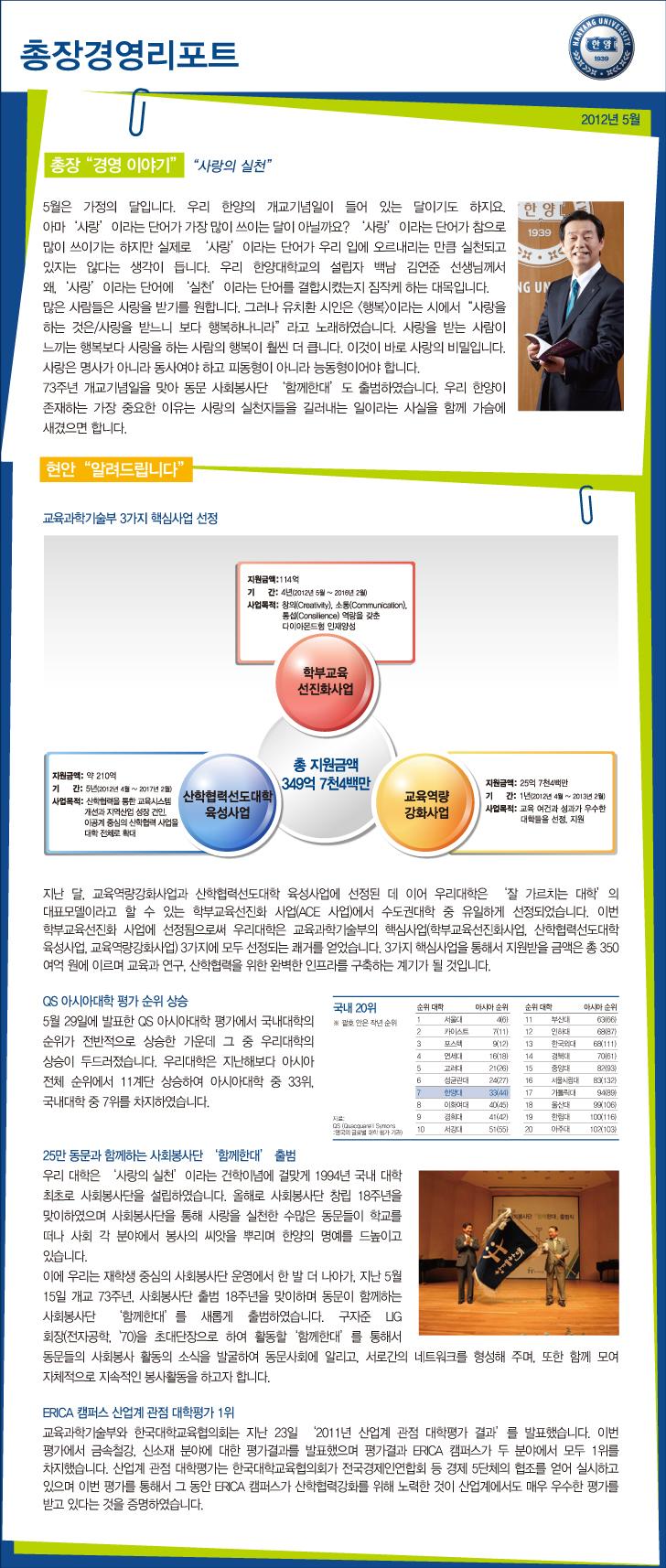 총장경영리포트 2012년 5월호