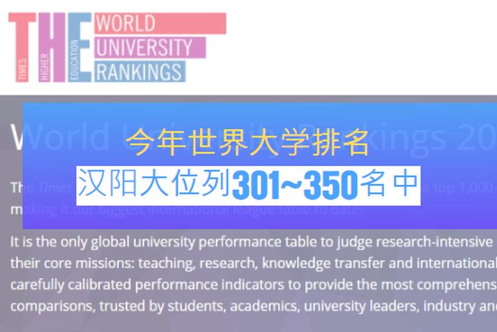 今年世界大学排名,汉阳大位列301~350名中