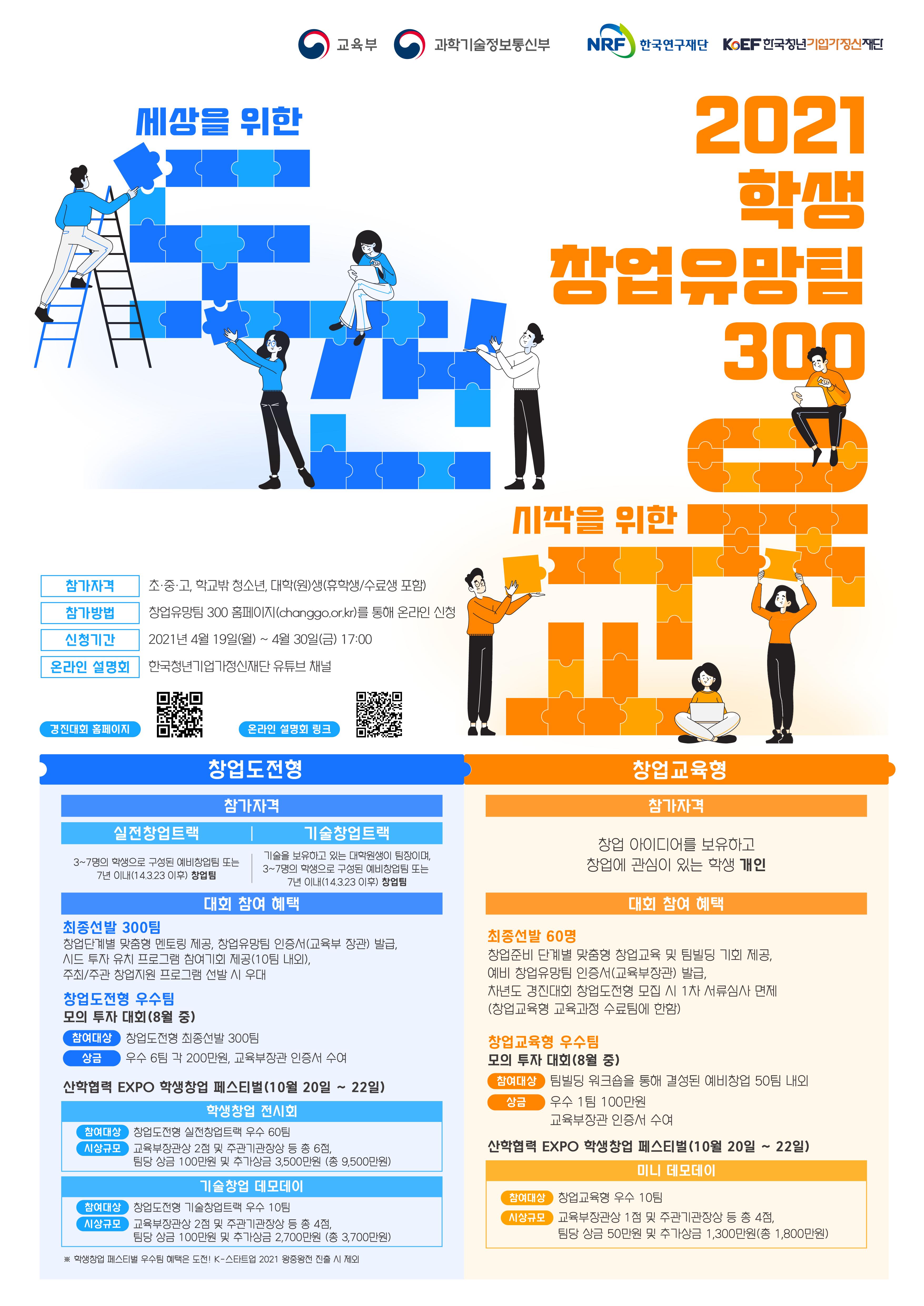 2021학생창업유망팀 300 경진대회 모집안내